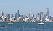 Looking across Hobsons Bay towards the central business district