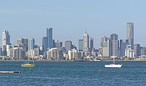 Department of Transport (Victoria) - Recreational boating in Port Phillip Bay in Melbourne with the city in the background.  Melbourne, the state capital, is home to more than seven in ten Victorians.
