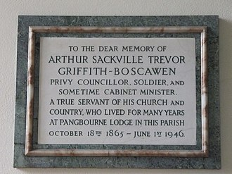 Arthur Griffith-Boscawen - Memorial in St James the Less, Pangbourne
