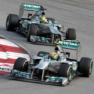 Both Mercedes-AMG Formula One cars at the 2013 Malaysian Grand Prix. Mercedes duo 2013 Malaysia.jpg