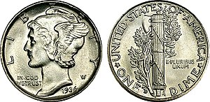 Composite image of a Mercury dime