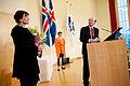 Merethe Lindstrom, vinnare av Nordiska radets litteraturpris 2012 grattuleras av Nordiska radets president Kimmo Sasi.jpg