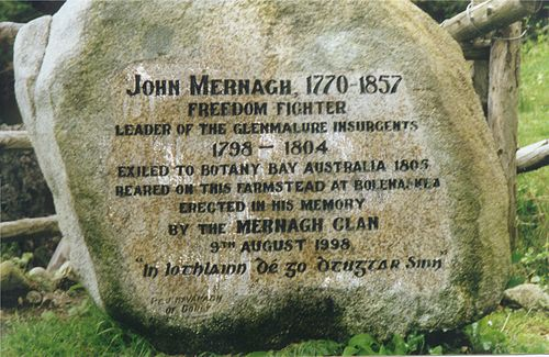 Epigraphy in honour of an Irish prisoner in the Australian penal colony of Botany Bay. Mernagh monument.JPG