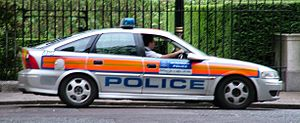 "Jam sandwich (police car) - A Metropolitan Police Service ""jam sandwich""."