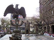 Monumento en la Ciudad de México sobre la tradición azteca de la fundación de México-Tenochtitlan.