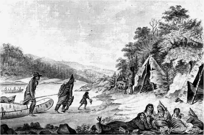 Mi%27kmaw Encampment by Hibbert Binney, c.1791, Nova Scotia Museum