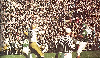 1966 Notre Dame vs. Michigan State football game - Mike Kenney kicks a field goal to give the Spartans a 10–0 lead.