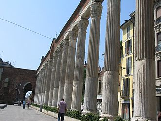Mediolanum - Roman columns in front of basilica di San Lorenzo.
