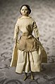 Milliner Model Doll with Ecru Dotted Dress and Checked Apron.jpg