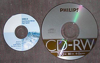 Mini CD - An 80 mm mini CD on the left, compared with a standard 120 mm CD on the right