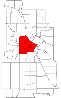 Location of Central within the U.S. city of Minneapolis