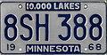 Minnesota 1968 license plate - Number 8SH 388.jpg