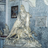 A statue of the tauroctony in the Vatican Museum. Note that Mithras is looking toward the bull instead of away, a stance rarely seen in the tauroctony.