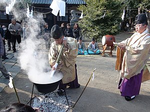 Shinto - Yutateshinji ceremony performed at the Miwa Shrine