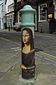 Mona Lisa painted bollard, Winchester, UK.JPG