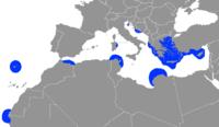 Mapa de distribuição de M. monachus