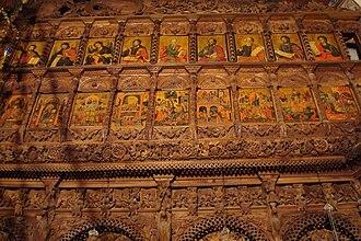 Mijaks - Intricate Mijak woodcarving in Saint Jovan Bigorski Monastery.