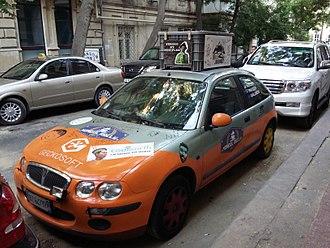 Mongol Rally - Mongol Rally 2017 car on the street of Baku, Azerbaijan.