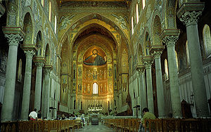 Architecture of Italy - The lavish mosaics in the interior of the Cathedral of Monreale, Sicily.