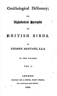 <i>Ornithological Dictionary</i> book by George Montagu