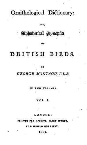 Ornithological Dictionary - Title page of first edition