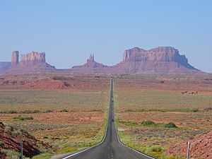U.S. Route 163 - View of Monument Valley in Utah, looking south on US 163