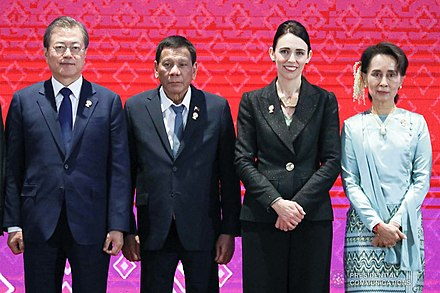 (L-R:) South Korean President Moon Jae-in, Philippines President Rodrigo Duterte, Ardern, and Aung San Suu Kyi, at the 14th East Asia Summit in Thailand, 4 November 2019 Moon, Duterte, Ardern and Aung San Suu Kyi at 14th East Asia Summit.jpg