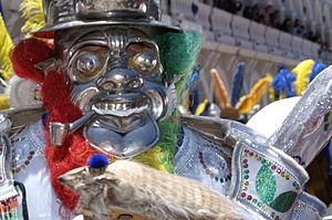 Morenada - Morenada mask showing exaggerated features to represent the physical state.