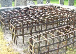 Mortsafe - Mortsafes at a church yard in Logierait, Perthshire, Scotland.
