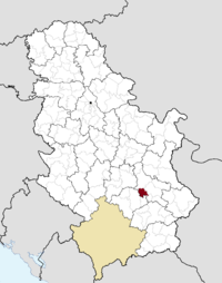 Location of the municipality of Merošina within Serbia
