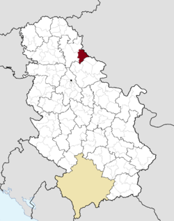 Location of Sečanj within Serbia