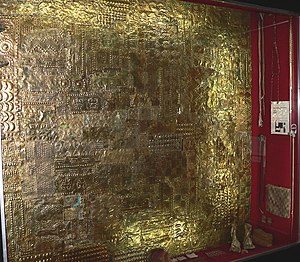 Gold Museum of Peru and Weapons of the World - Thick gold plate for wall cladding. Inca Culture