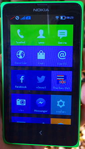 nokia x. home screen nokia x