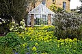 Myddelton House, Enfield, London ~ conservatory and flower bed 02.jpg