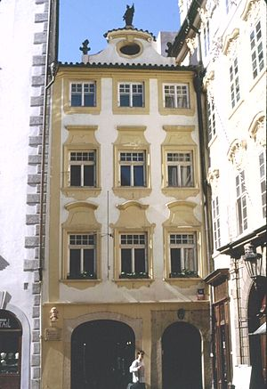 Josef Mysliveček - The house of Mysliveček's parents on Melantrichova Street in Prague, where the composer spent much of his childhood and early adulthood. A bust of the composer can be seen on the lower left above a commemorative plaque.