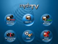 The MythTV menu (default blue theme)