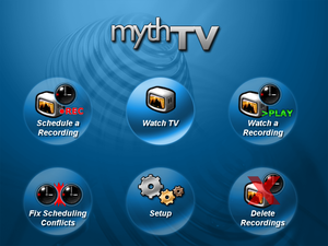 The MythTV menu (default blue theme) Taken fro...