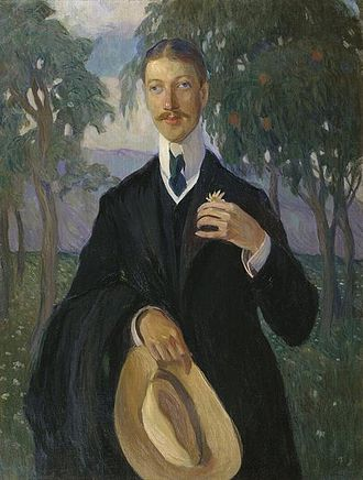 Nikolay Gumilyov - Portrait of Gumilev at African background by Olga Della-Vos-Kardovskaya, 1909