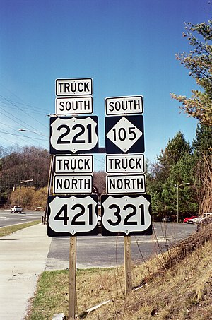U.S. Route 321 - US 221 Truck/US 321 Truck/US 421 Truck/NC 105 traveling concurrent through the Boone area