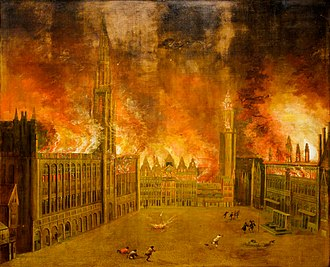 Bombardment of Brussels - The Grand Place on fire on the night of August 13th to 14th 1695 (anonymous painting)