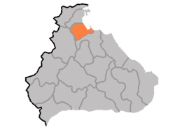 Map of Kangwon showing the location of Wonwan