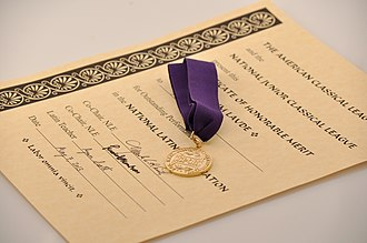 National Latin Exam - The National Latin Exam gold medal and certificate
