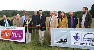 Dorset Wildlife Trust - Michael Tomlinson MP opens Corfe Barrows Nature Park attended by Mayor of Poole Xena Dion and project partners.