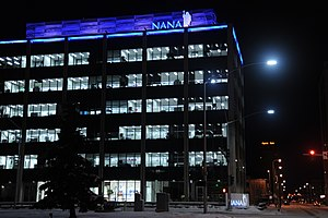 NANA Regional Corporation - NANA Regional Corporation is headquartered in Kotzebue but maintains offices in downtown Anchorage for a number of departments and subsidiaries, including the headquarters of NANA Development Corporation.  The building, situated at the corner of Ninth Avenue and I Street and constructed in 1969, formerly housed oil company offices and the Japanese consulate office.