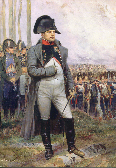 Napoleon is often represented in his green colonel uniform of the Chasseur a Cheval, with a large bicorne and a hand-in-waistcoat gesture. Napoleon in 1806.PNG