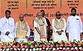 Narendra Modi unveiling the foundation stone for Incubation Centre for Medical Electronics, at Patna, Bihar. The Governor of Bihar, Shri Keshri Nath Tripathi, the Chief Minister of Bihar, Shri Nitish Kumar.jpg