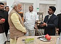 Narendra Modi visiting the Krishi Vigyan Kendra Campus of the Agricultural Development Trust, in Baramati, Maharashtra on February 14, 2015. The Chief Minister of Maharashtra, Shri Devendra Fadnavis is also seen.jpg