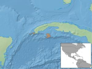 Cuban greater funnel-eared bat - Image: Natalus primus distribution