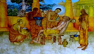Buddhism and euthanasia - The Buddha and Ananda tend a sick monk