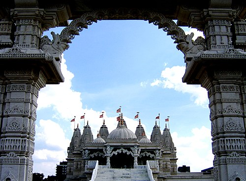 BAPS Shri Swaminarayan Mandir in London, United Kingdom is the largest Hindu temple in England. Neasden Temple - Shree Swaminarayan Hindu Mandir - Gate.jpg